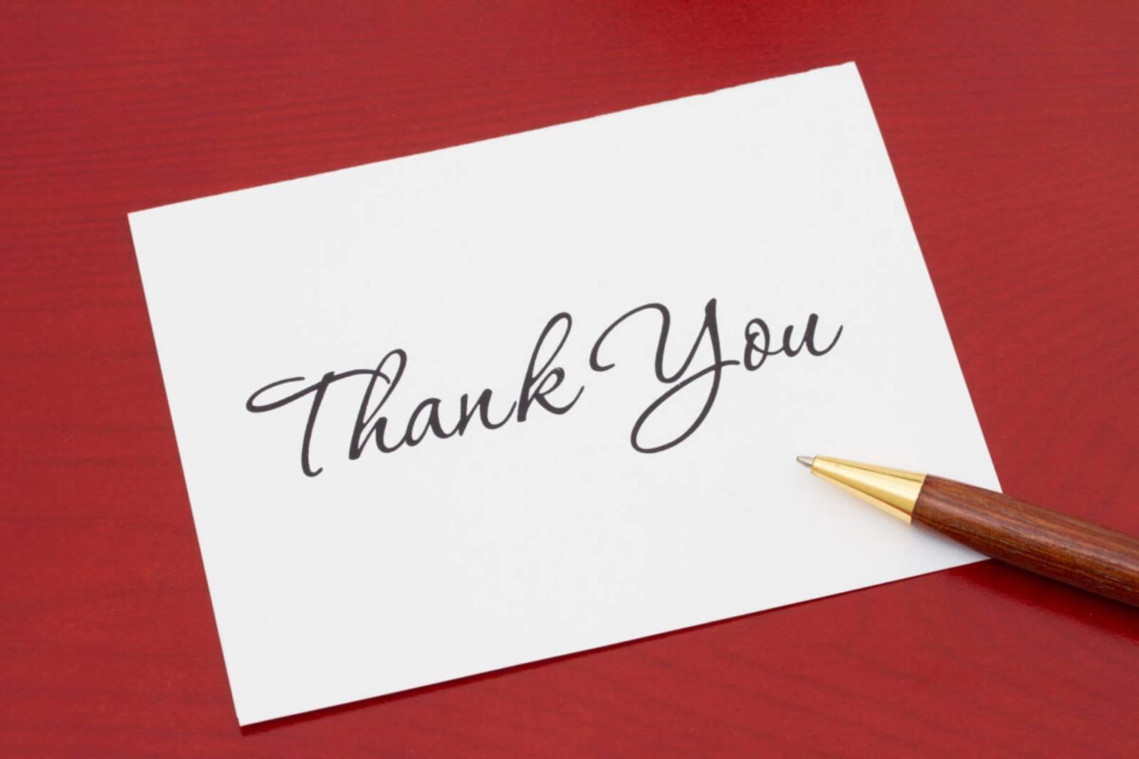 Danke Brief und Stift