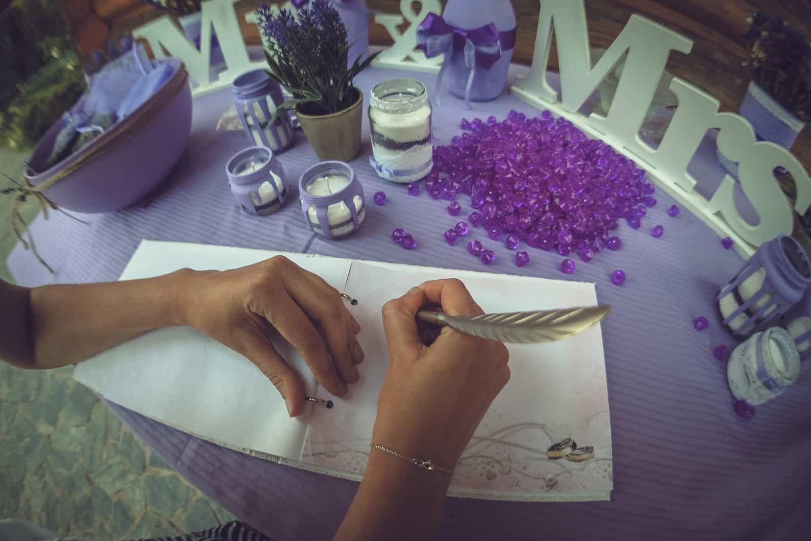 Hochzeitsgastbuch oder Wunschbuch Draufsicht
