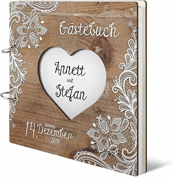 Hochzeit Gästebuch personalisiertes lasergeschnittenes Holzcover