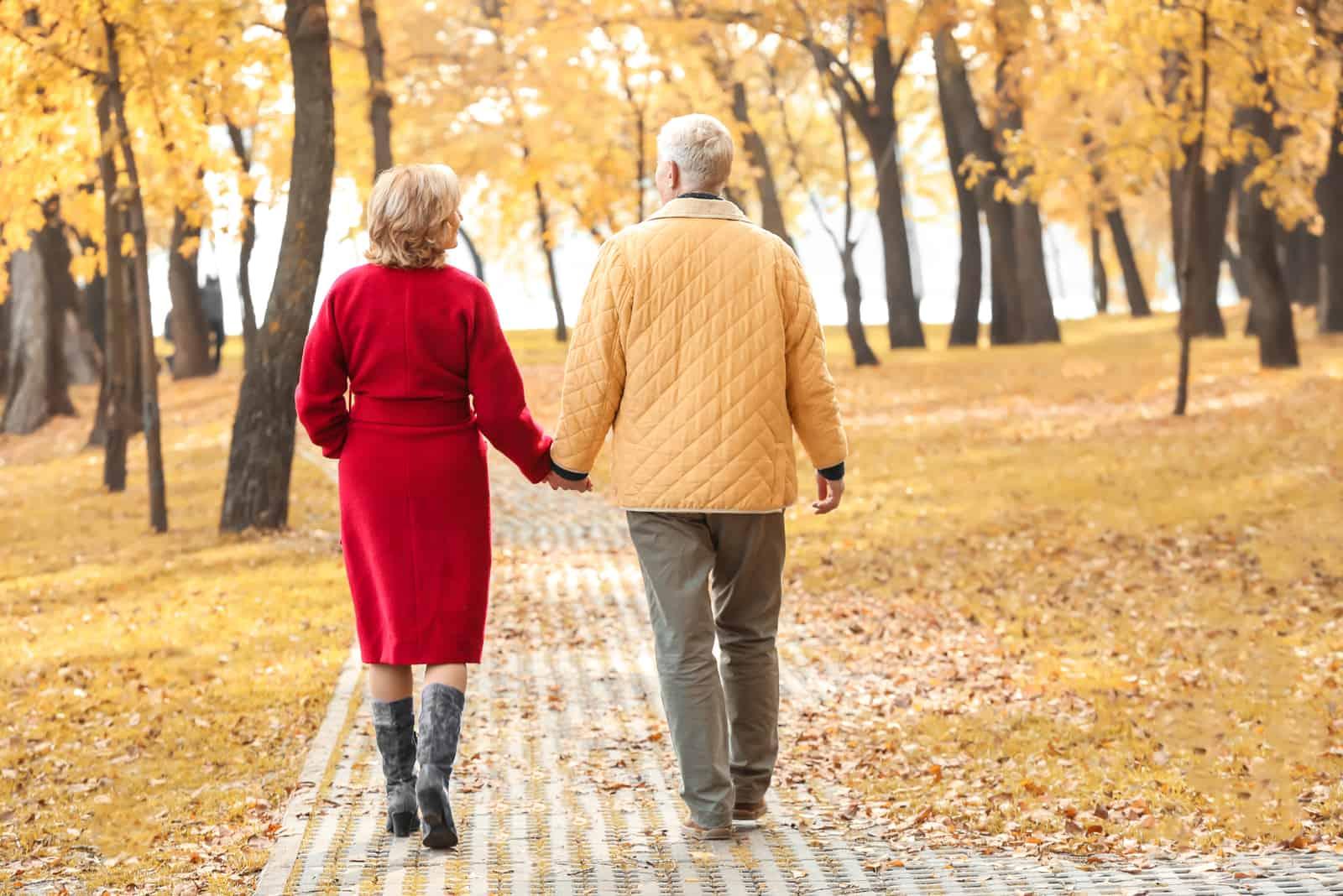 Älteres Paar, das im Park am Herbsttag geht