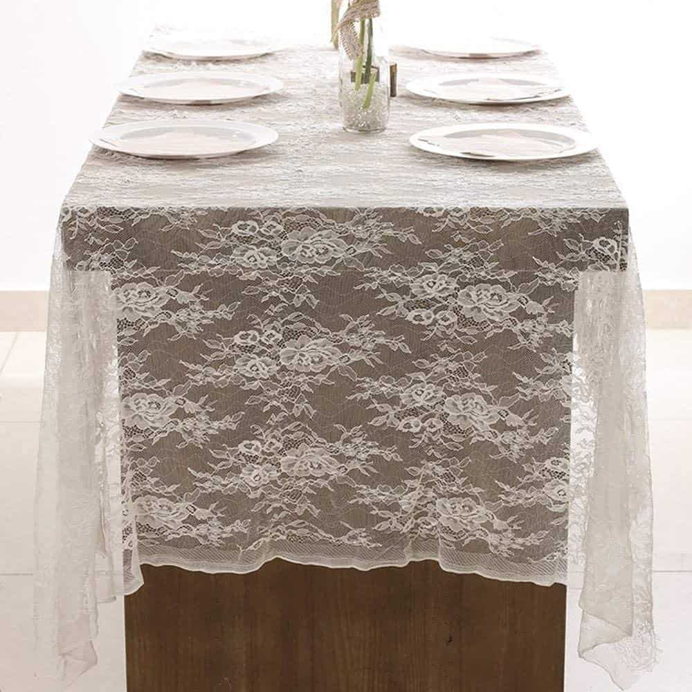DÉCOCO Weiße Spitze Tischdecke