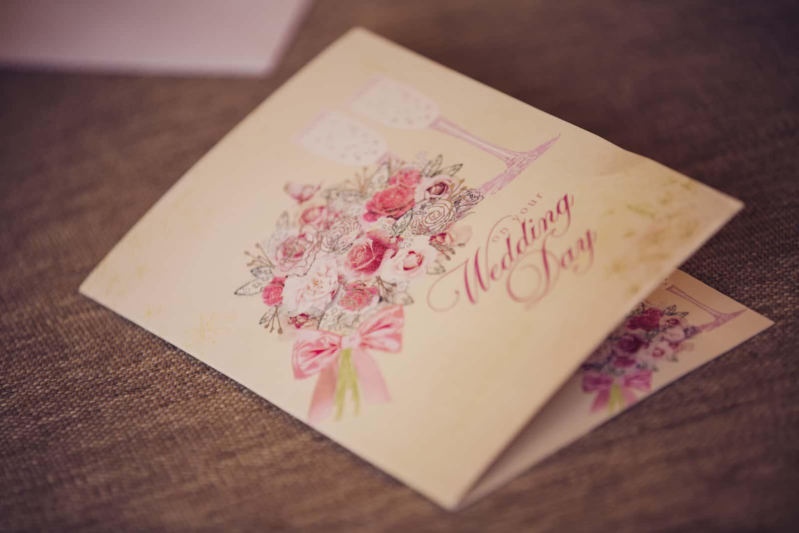 Vintage Hochzeitseinladungskarte