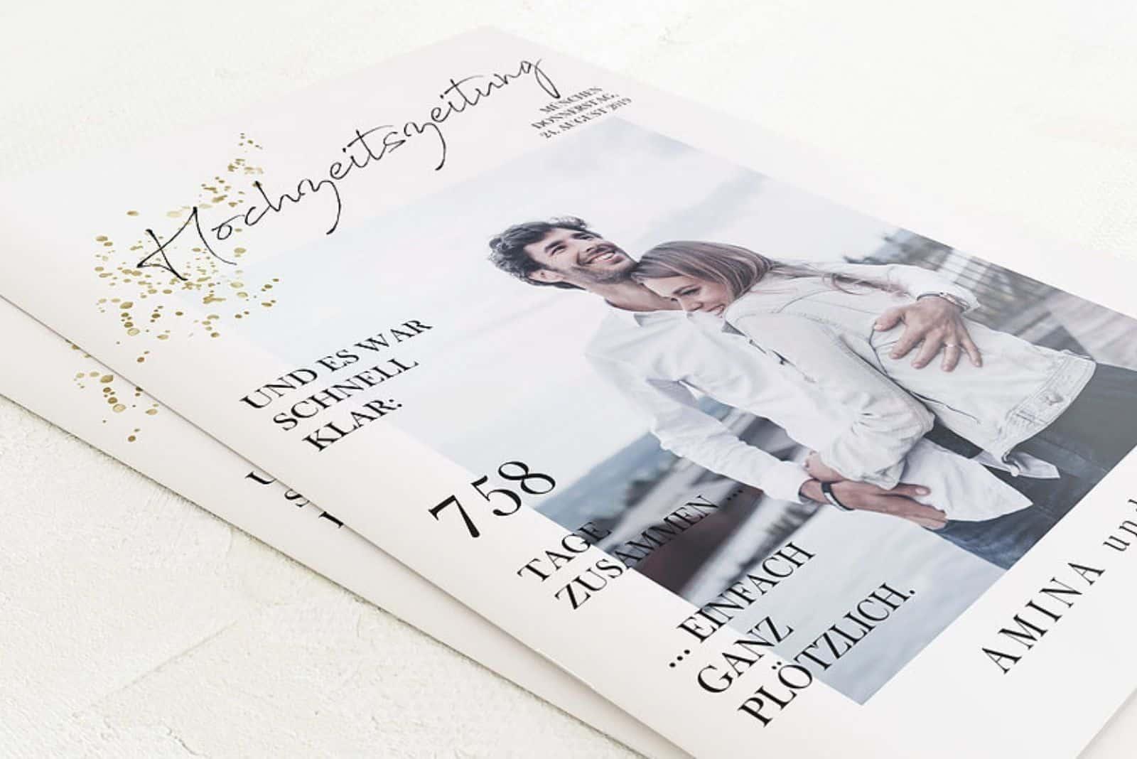 hochzeitszeitung design ideen