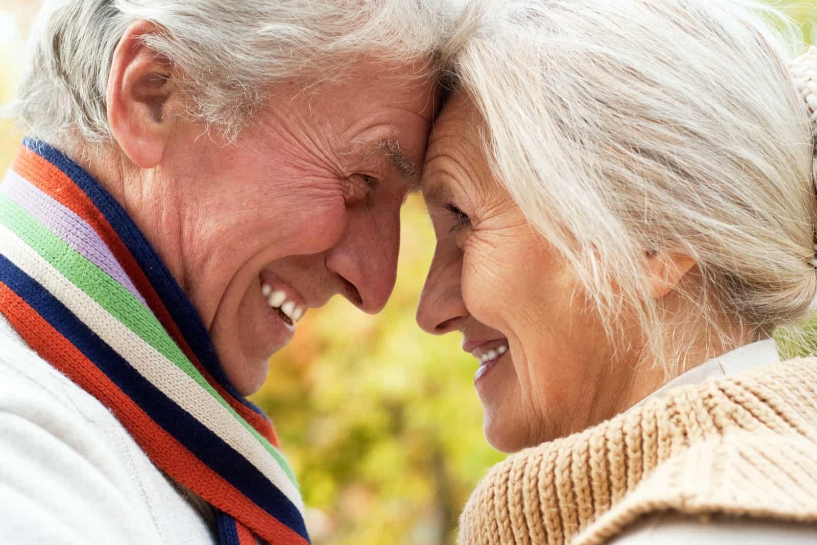nettes älteres Ehepaar in einem Herbstpark