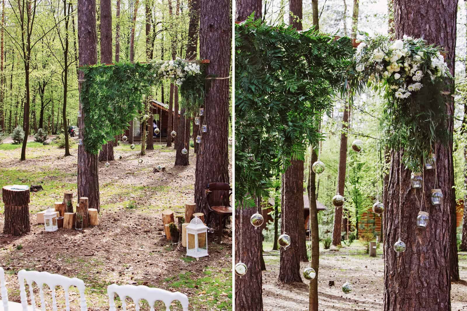 rustikale Hochzeitsdekoration im Wald