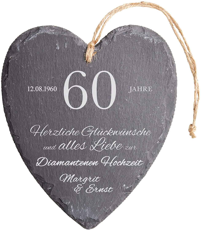 Casa Viviente Schieferherz mit Gravur zur diamantenen Hochzeit