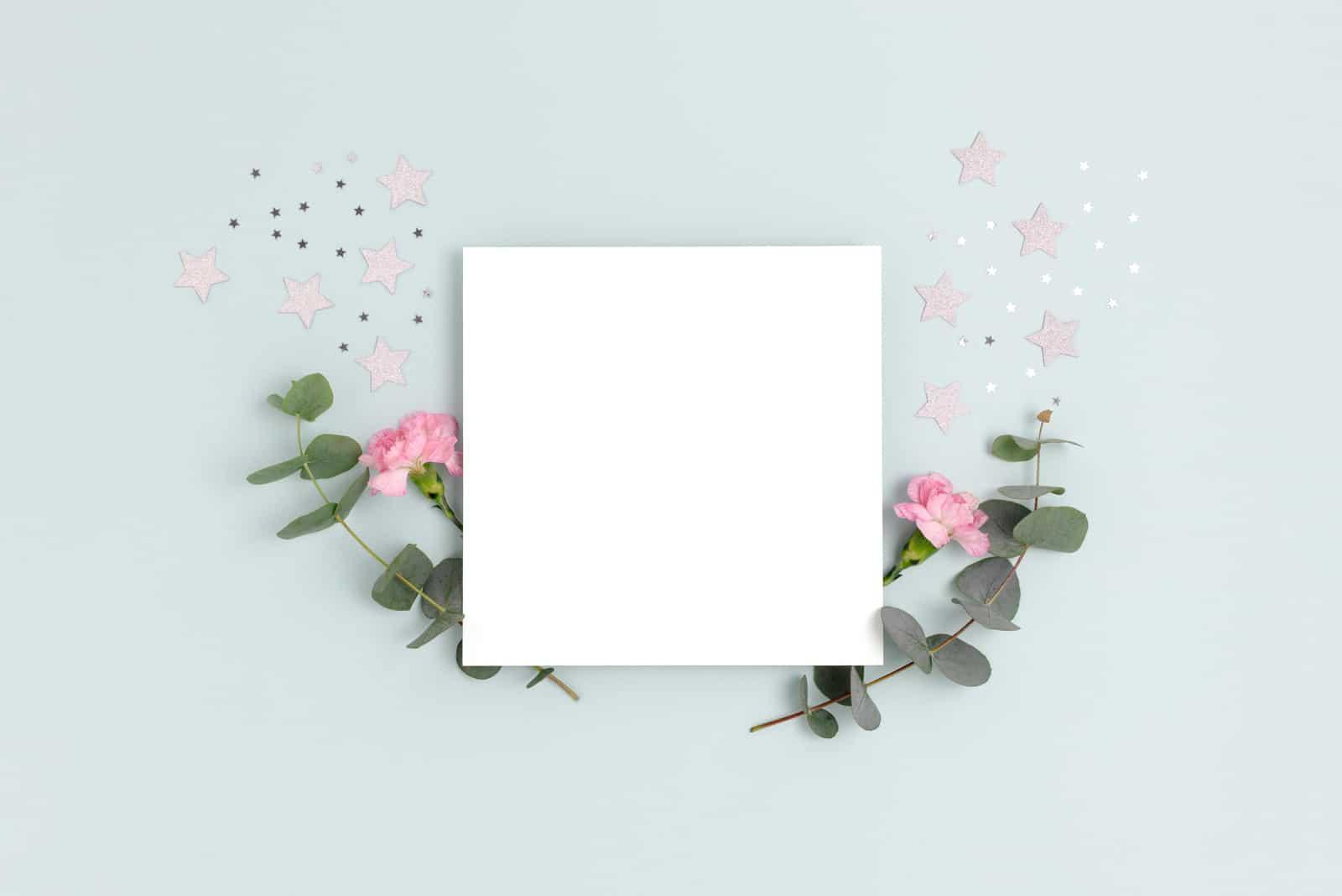 Grußkartenmodell mit Nelkenblumen